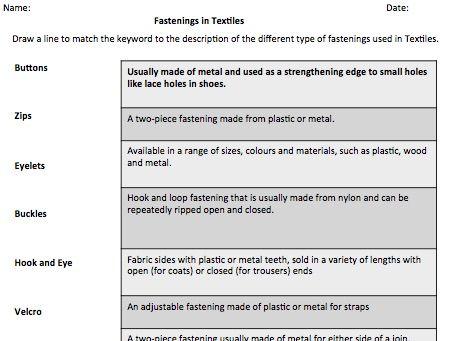 Fastenings in Textiles Worksheets