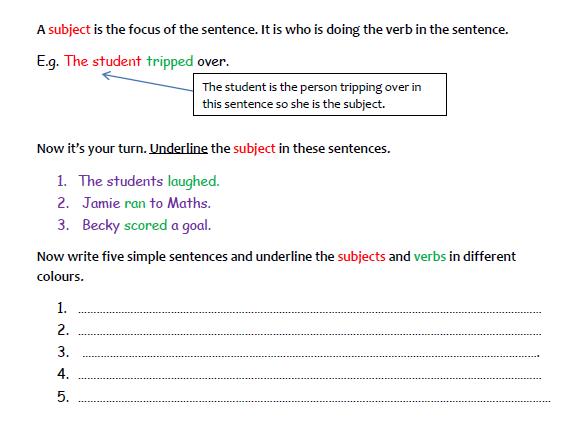 A Worksheet on Simple Sentences  (1)