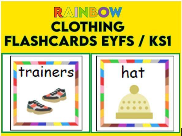 Rainbow Border Clothes Flashcards EYFS  KS1