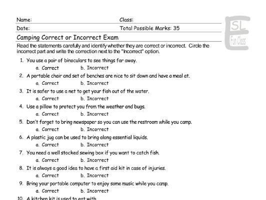 Camping Correct-Incorrect Exam