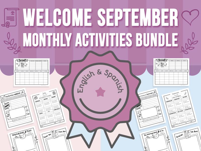 Welcome September - Monthly Activities BUNDLE