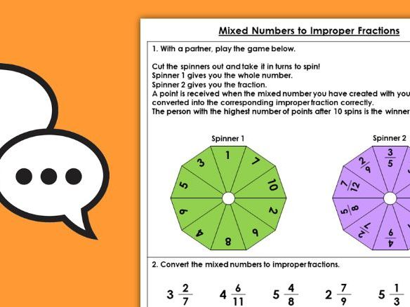 Year 5 Mixed Numbers to Improper Fractions  Spring Block 2 Maths Discussion Problems