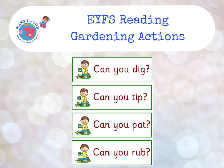 Gardening Actions - EYFS Reading - Letters and Sounds Phase 2/3