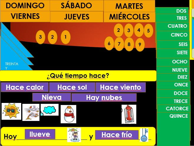 Interactive Calendar in Spanish with Weather
