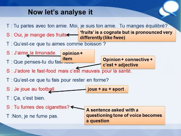 French GCSE Foundation lifestyle role play