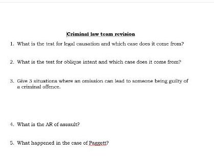 Criminal Law - Revision Quiz