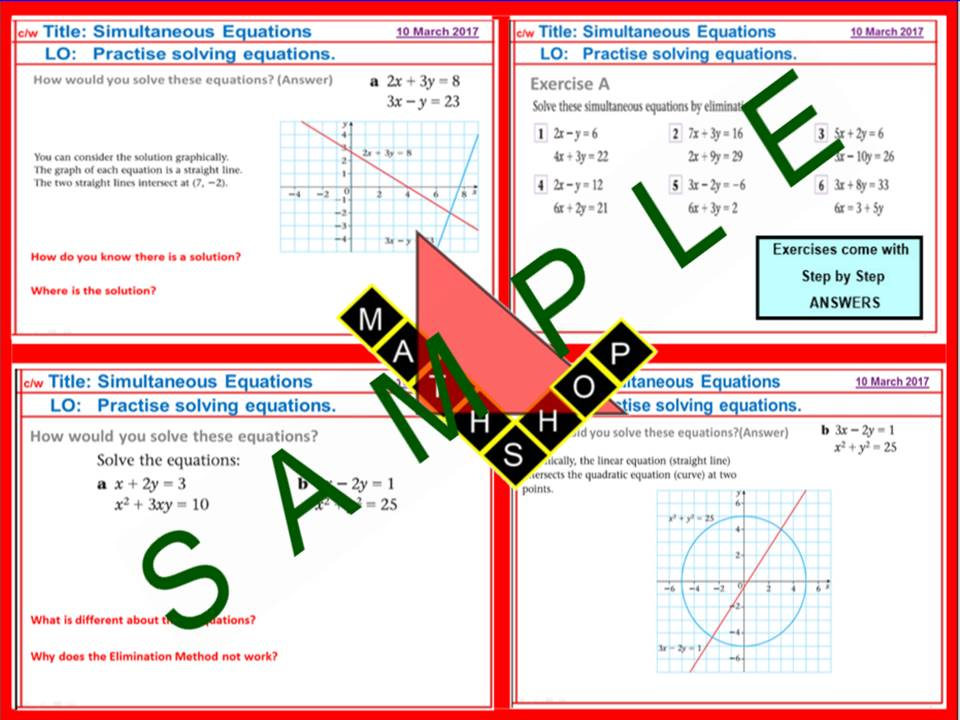 Simultaneous Equations Revision