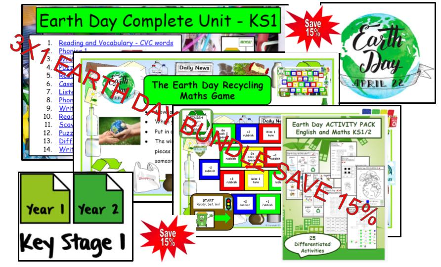 3X1 Earth Day Literacy and Maths Game resource Bundle KS1/KS2