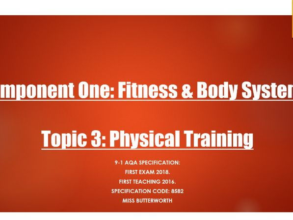 AQA 9-1 GCSE PE - Physical Training Topic PowerPoints
