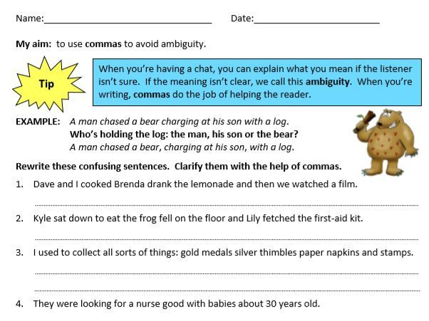 Year 5/6 Grammar, English/ Literacy, Commas Worksheets