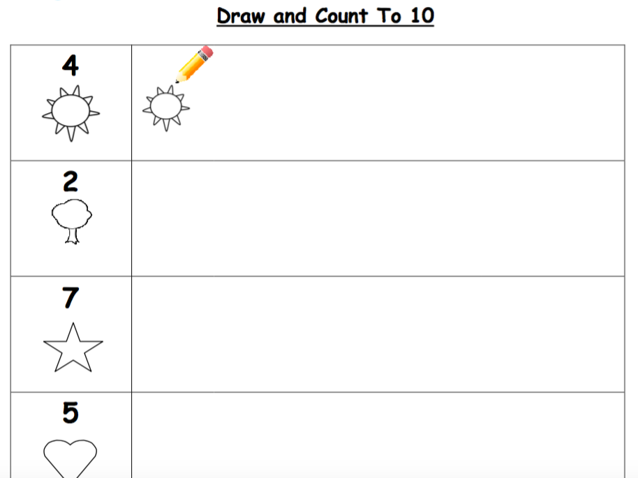 Draw and Count to 10 Worksheet