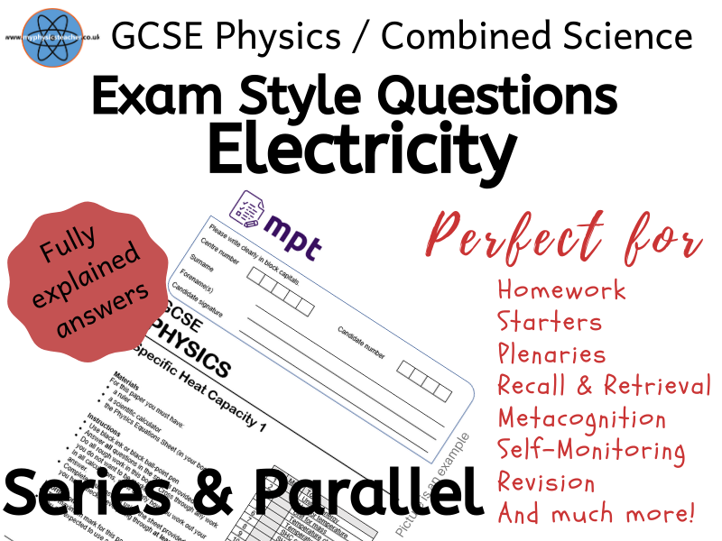 Electricity- Series & Parallel Circuits Exam Style Questions Answers GCSE Physics / Combined Science