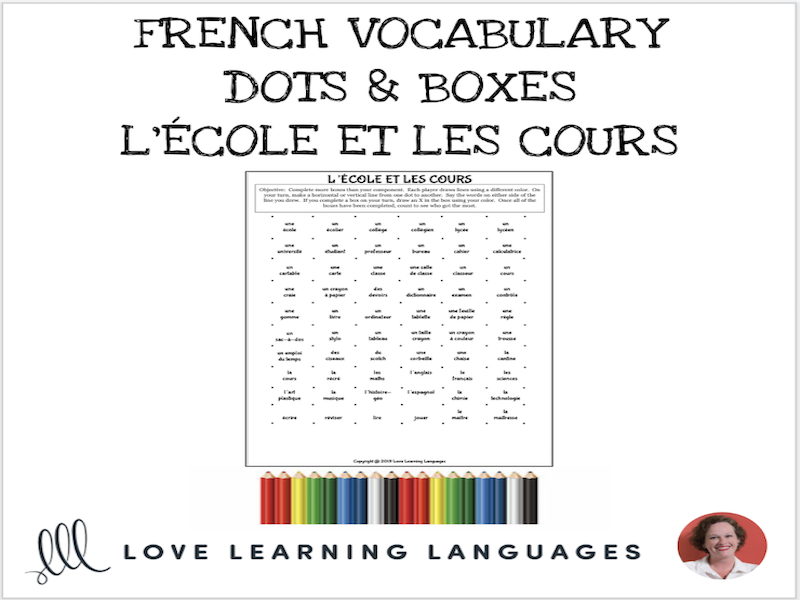 French Dots and Boxes Game - L'ÉCOLE ET LES COURS - No prep printable