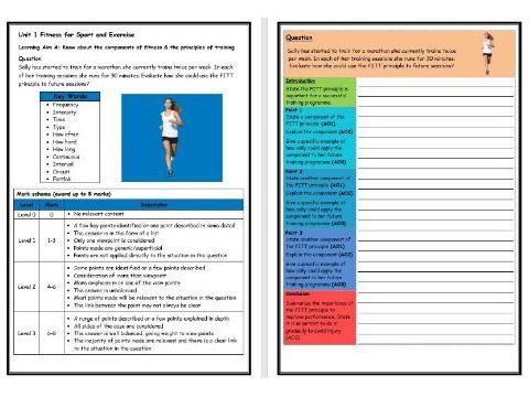 BTEC Sport (Level 2)- Unit 1 – Principles of Training FITT Structure Strip (Long Answer Question)
