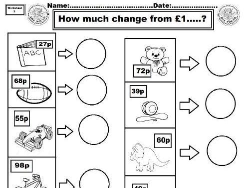 Change from £1 worksheet 2  ks1