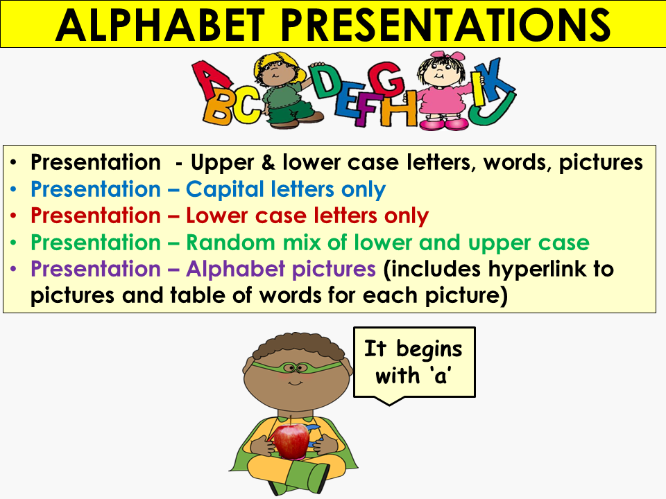The Alphabet: Alphabet Presentations, Capital/lower case letters, Picture to letter hyperlinks
