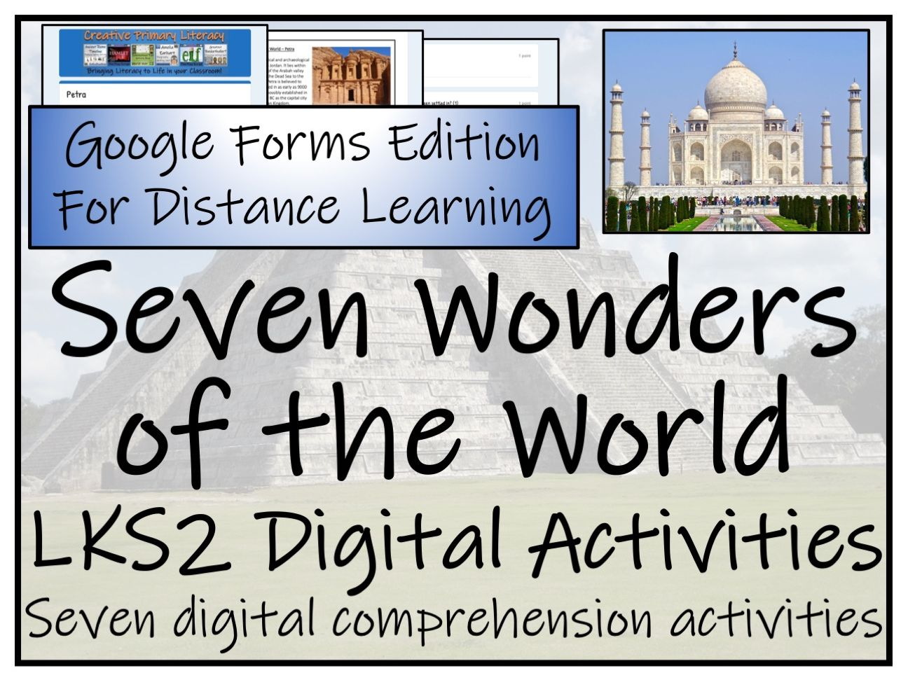 LKS2 New Seven Wonders of the World Reading Comprehension & Distance Learning Bundle