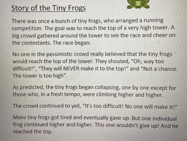The Tiny Frogs guided reading comprehension