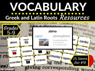 Vocabulary Activities for Greek and Latin Roots-List #18
