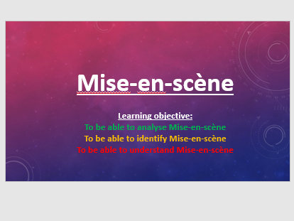 Introduction to Mise en scene - Perfect for teaching GCSE Film, GCSE  Media and BTEC courses