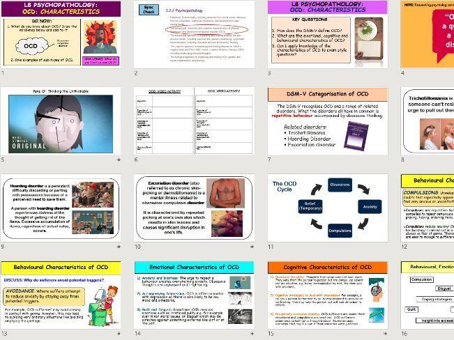 A-Level Psychology - The Behavioural, Emotional & Cognitive CHARACTERISTICS OF OCD (Psychopathology)