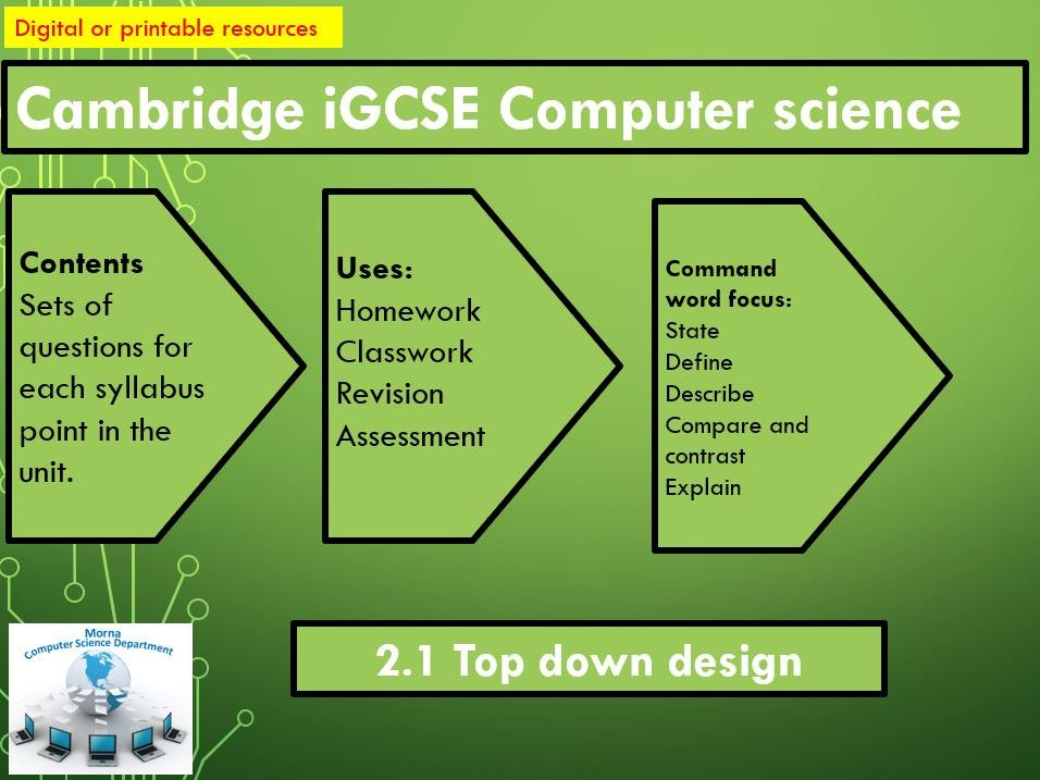 iGCSE Computer Science Revision Activities Unit 2.1 Top down design