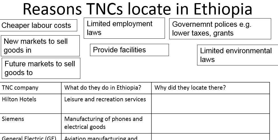 GCSE 9-1; Global development - Ethiopia case study, international investment