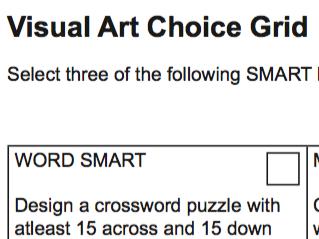 Visual Art Choice Grid