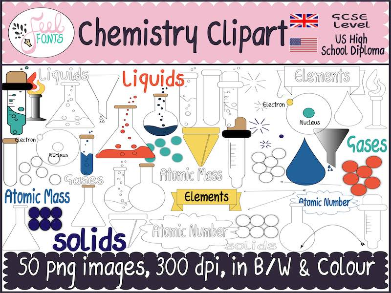 Chemistry Clipart ,black and white  & colour png images