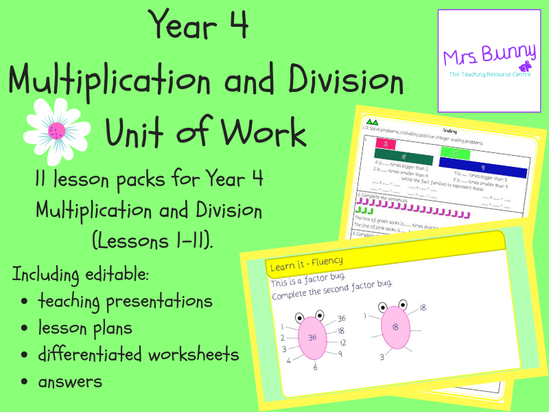 Year 4 Multiplication and Division Unit Pack (Spring Block)