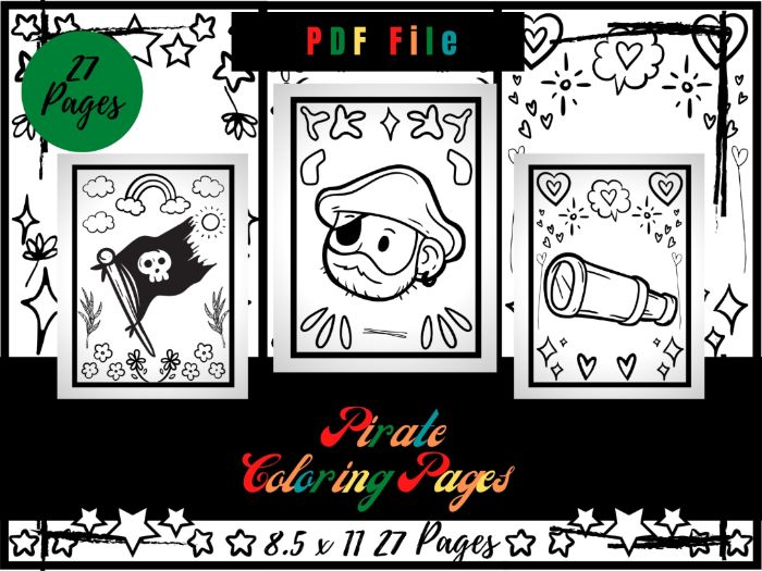 Pirate Colouring Pages, Treasure, Flag, Ship And Map Printable Colouring Sheets