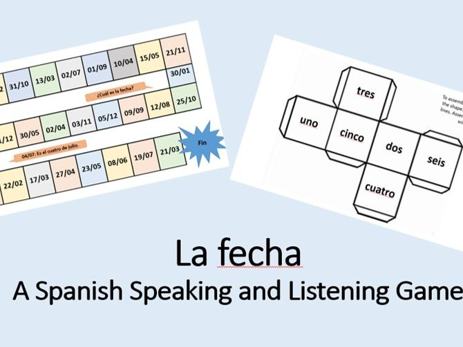 Spanish Game - Giving the date - months and numbers - speaking and listening