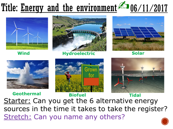 Energy and the environment - complete lesson (KS4)