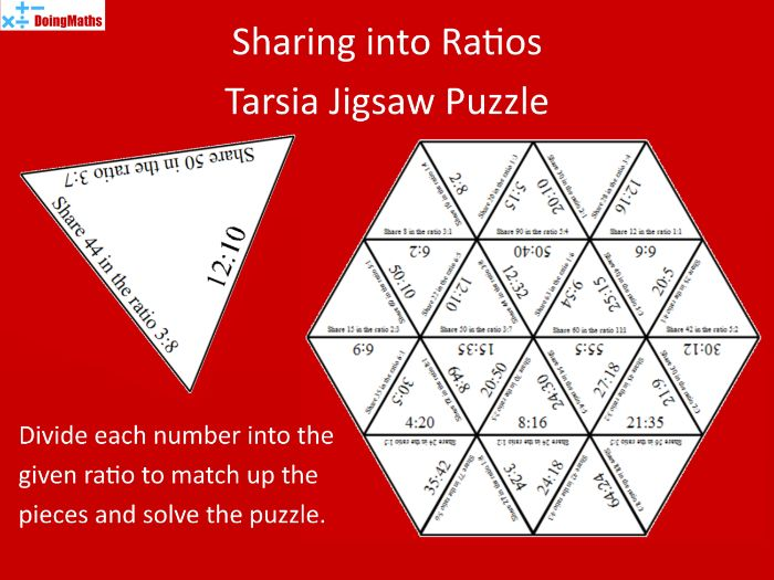 Sharing amounts into ratios practice jigsaw puzzle