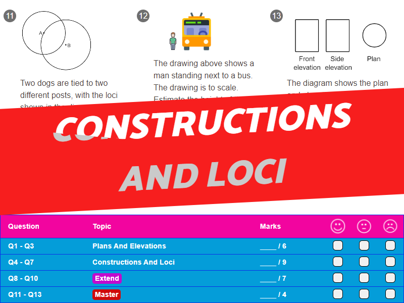 Constructions And Loci Worksheet + Answers (Higher GCSE)