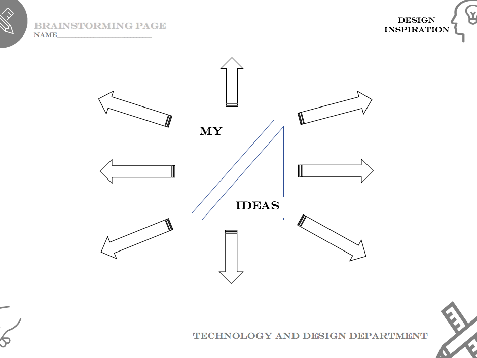 Design task brainstorming page - Suitable for covering Technology and Design lessons