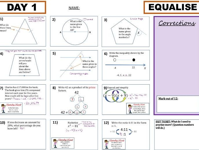 Week One (Four Lessons) - Rapid Recap Revision Resource (Foundation GCSE)