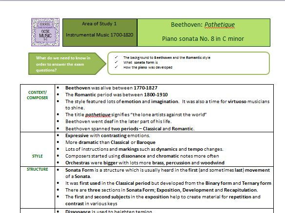 GCSE Edexcel 91 MUSIC Beethoven Pathetique by sarahwilliams900 – Beethoven Worksheet