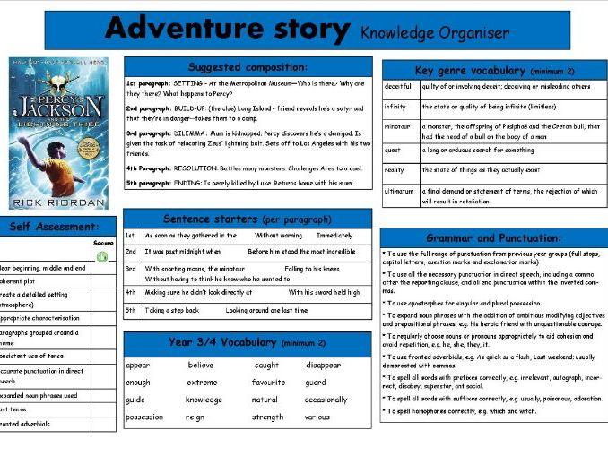 Adventure story knowledge organiser Percy Jackson