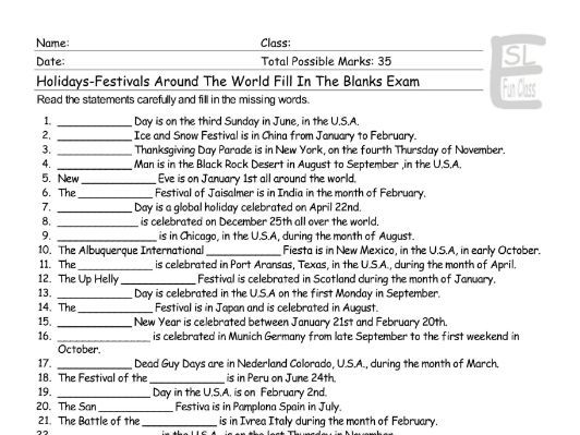 Holidays-Festivals Around The World Fill In The Blanks Exam