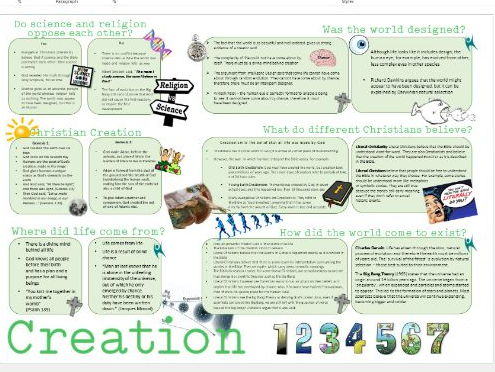 WJEC Eduqas Life and Death: Creation Learning Mat