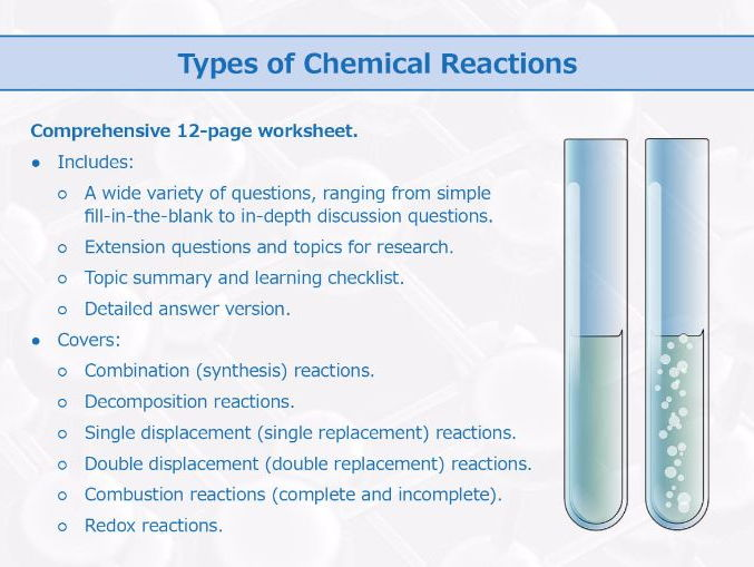 Types Of Chemical Reactions Worksheet By
