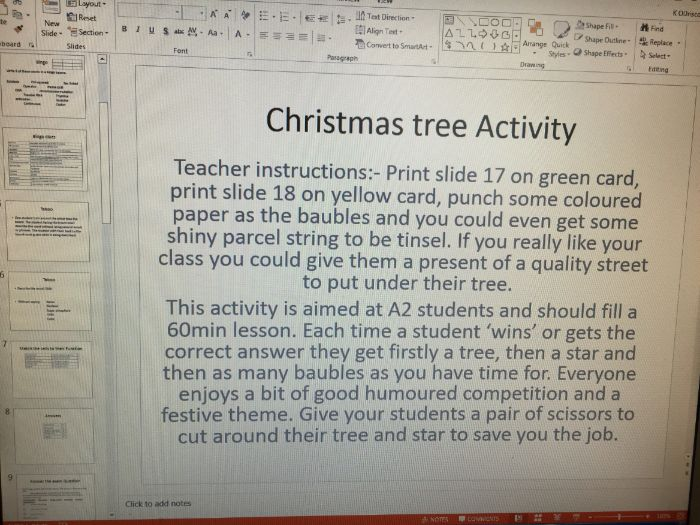 Year 13 Biology Christmas Tree Activity