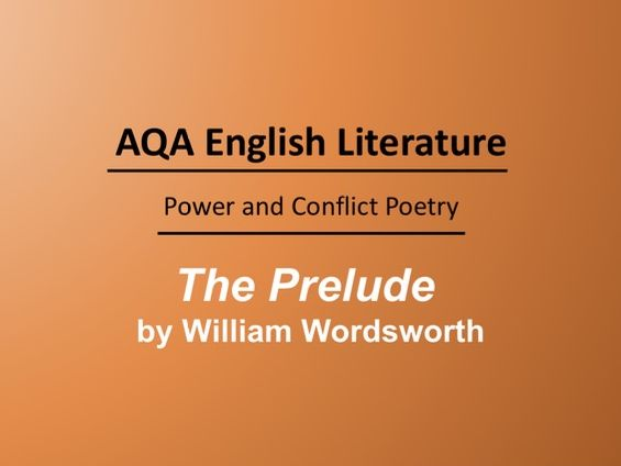 The Prelude by William Wordsworth Lesson