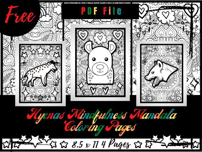 FREE Hyenas Mindfulness Mandala Coloring Pages, FREE Animals Coloring Printable Sheets PDF