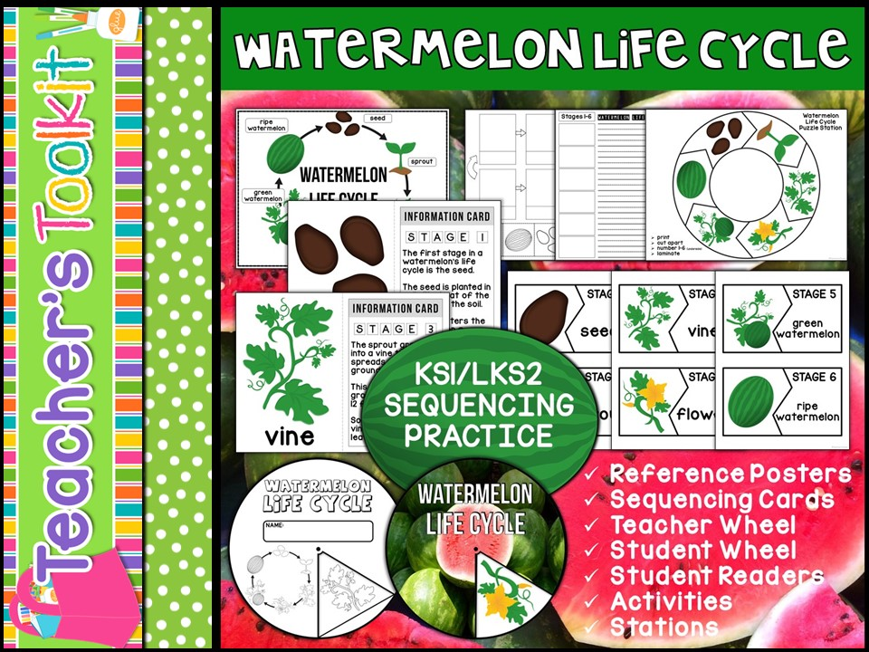 Watermelon Life Cycle Mini Unit - Sequencing Practice