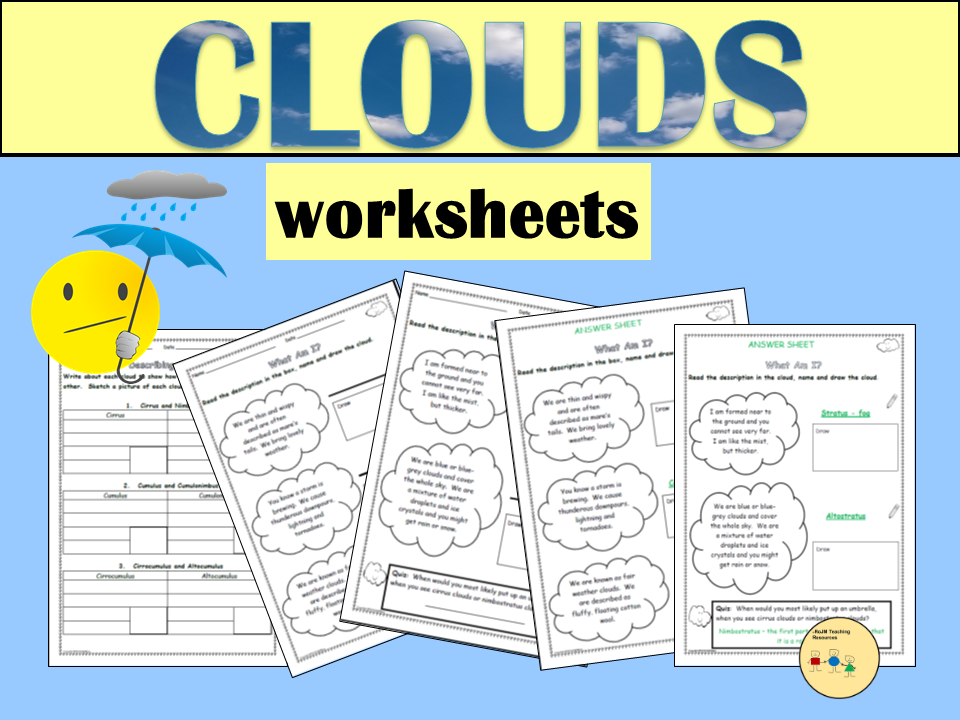 Clouds:  Additional Worksheets - Comparing and Describing and What Am I? Worksheets