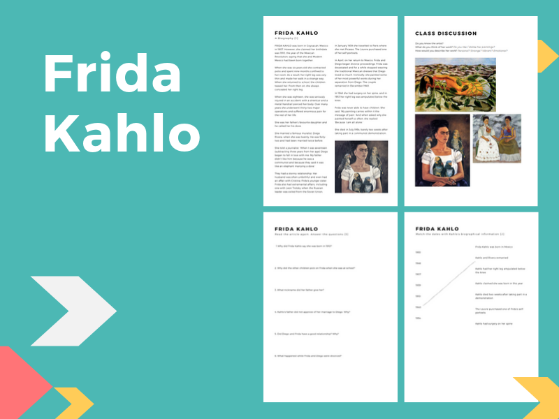 Frida Kahlo - Reading & Comprehension Activities