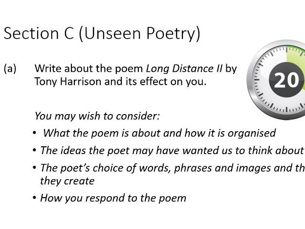 GCSE English Unseen Poetry Revision 'Long Distance II' by Tony Harrison
