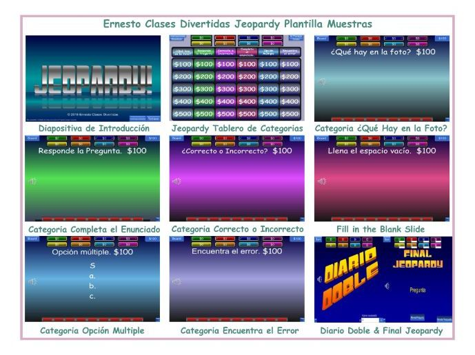Jeopardy Spanish Powerpoint Game Template Ernesto Clases Divertidas